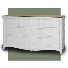 Chasco Kona 7 Drawer Dresser with Glass Top